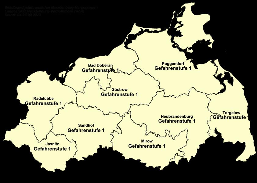 Karte der aktuellen Waldbrandgefahrenstufen in M-V